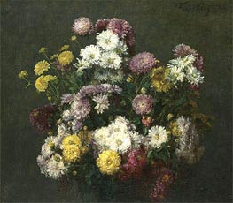 Flowers, Chrysanthemums, 1876 by Fantin-Latour | Painting Reproduction