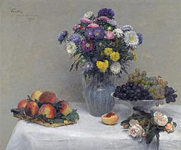 Flowers and Fruits, 1876 by Fantin-Latour | Painting Reproduction