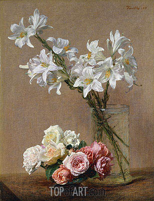 Roses and Lilies, 1888 | Fantin-Latour | Painting Reproduction