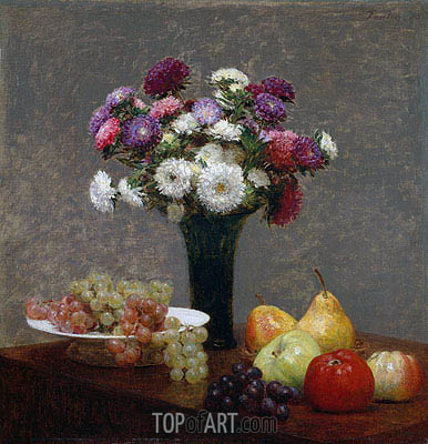 Asters and Fruit on a Table, 1868 | Fantin-Latour | Painting Reproduction