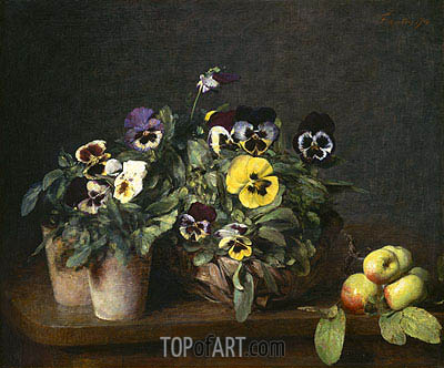 Still Life with Pansies, 1874 | Fantin-Latour| Painting Reproduction