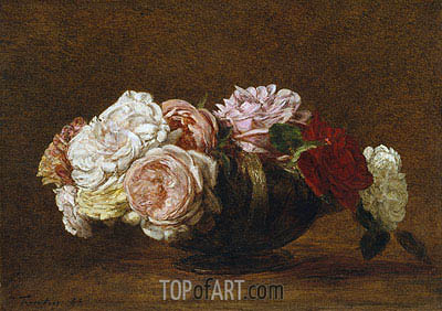 Roses in a Bowl, 1883 | Fantin-Latour| Painting Reproduction