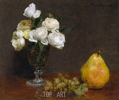 Fantin-Latour | Still Life with Roses and Fruit, 1863