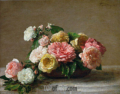 Roses in a Bowl, 1882 | Fantin-Latour| Painting Reproduction