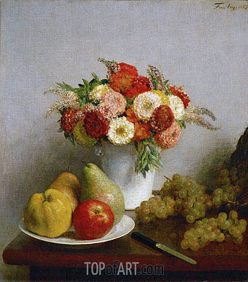 Flowers and Fruits, 1865 | Fantin-Latour| Painting Reproduction