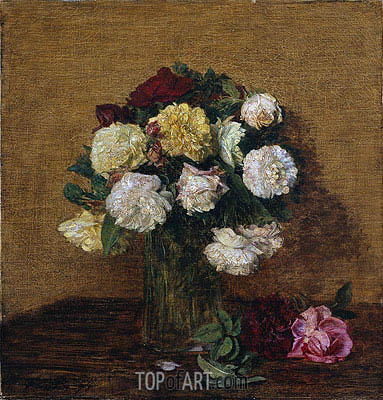 Roses in a Vase, 1878 | Fantin-Latour| Painting Reproduction
