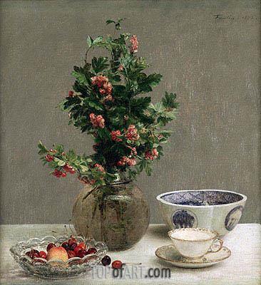 Fantin-Latour | Still Life with Vase of Hawthorn, Bowl of Cherries, Japanese Bowl, Cup and Saucer, 1872
