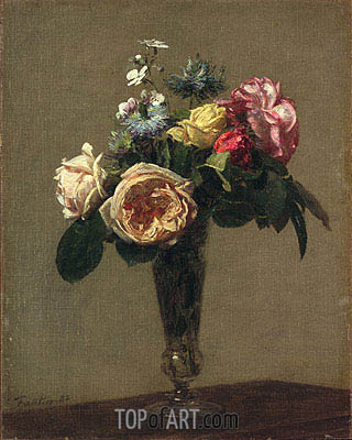 Flowers in a Vase, 1882 | Fantin-Latour| Painting Reproduction