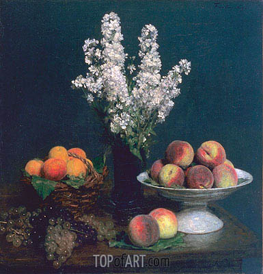 White Rockets and Fruit, 1869 | Fantin-Latour| Painting Reproduction
