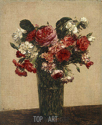 Still Life with Roses and Asters in a Glass, 1877 | Fantin-Latour| Painting Reproduction