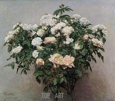 Still Life with White Roses, 1875 | Fantin-Latour| Painting Reproduction
