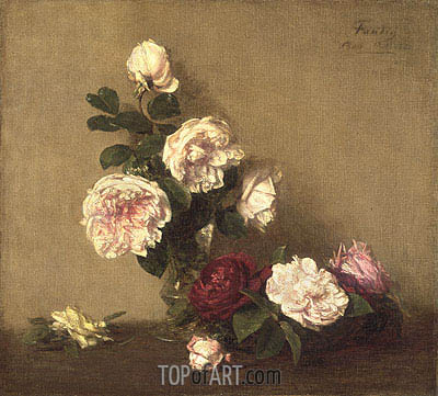 Still Life with Roses of Dijon, 1882 | Fantin-Latour| Painting Reproduction