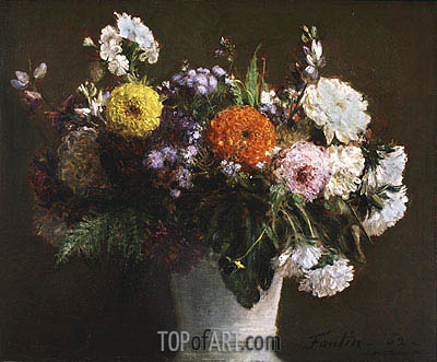 Still Life with Chrysanthemums, 1862 | Fantin-Latour | Painting Reproduction