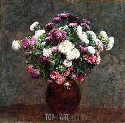 Asters in a Vase, 1875 | Fantin-Latour| Painting Reproduction