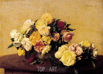 Roses in a Bowl and Dish, 1885 | Fantin-Latour | Painting Reproduction
