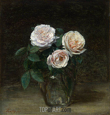 Still Life - Roses, 1877 | Fantin-Latour | Painting Reproduction