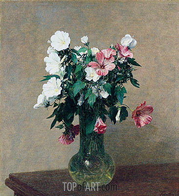 Fantin-Latour | White and Pink Mallows in a Vase, 1895