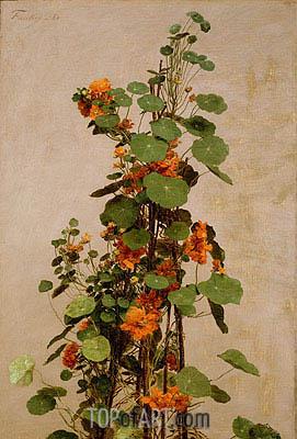 Nasturtiums, Capucines, Tropaeolum majus, 1880 | Fantin-Latour | Painting Reproduction