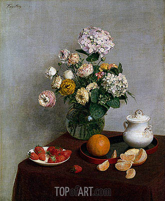Flowers and Fruit, 1866 | Fantin-Latour| Gemälde Reproduktion