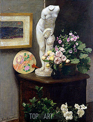 Still Life with Torso and Flowers, 1874 | Fantin-Latour| Gemälde Reproduktion