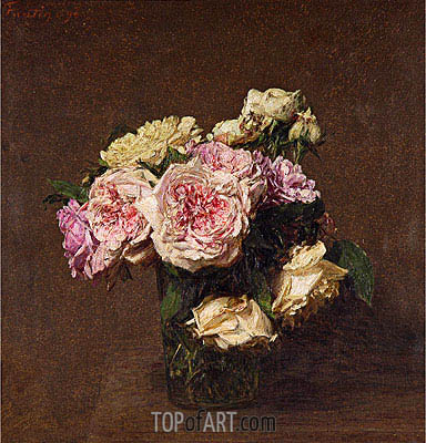 Roses in a Vase, 1894 | Fantin-Latour| Painting Reproduction