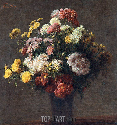 Chrysanthemums In Vase, 1875 | Fantin-Latour | Painting Reproduction