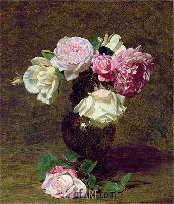 Pink and White Roses, 1890 | Fantin-Latour| Painting Reproduction