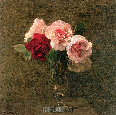 Still Life of Pink and Red Roses, 1886 | Fantin-Latour | Painting Reproduction