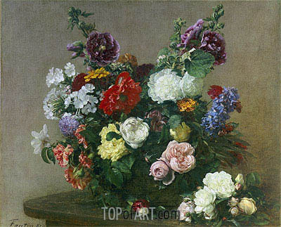 A Bouquet of Mixed Flowers, 1881 | Fantin-Latour| Painting Reproduction