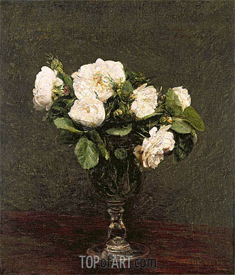 White Roses, 1875 | Fantin-Latour| Painting Reproduction