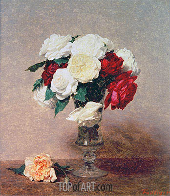 Roses in a Vase with Stem, 1890 | Fantin-Latour | Painting Reproduction