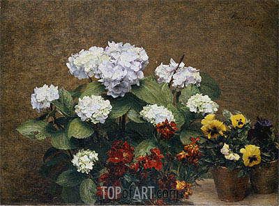Hortensias and Stocks with Two Pots of Pansies, 1879 | Fantin-Latour | Painting Reproduction