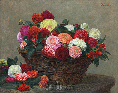 Basket of Dahlias, 1893 | Fantin-Latour | Gemälde Reproduktion