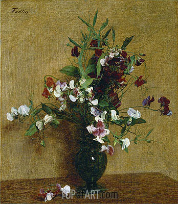 Sweet Peas in a Vase, 1888 | Fantin-Latour | Painting Reproduction
