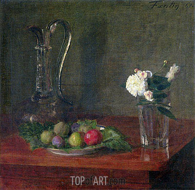 Fantin-Latour | Still Life with Glass Jug, Fruit and Flowers, 1861