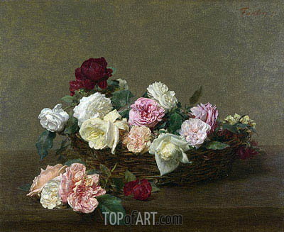 Fantin-Latour | A Basket of Roses, 1890