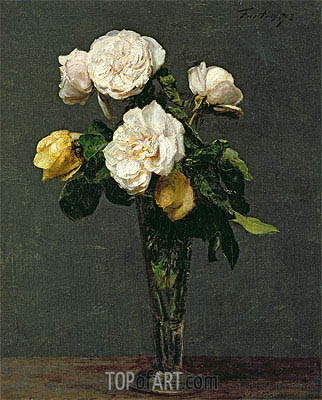 Roses in a Champagne Flute, 1873 | Fantin-Latour| Painting Reproduction