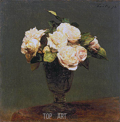 White Roses, 1873 | Fantin-Latour | Painting Reproduction