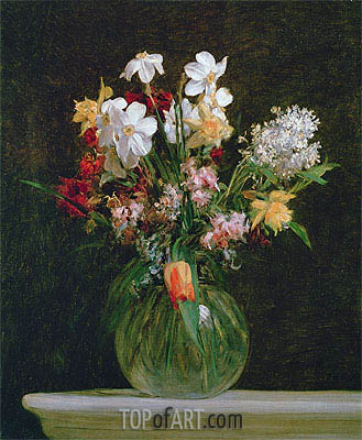 White Narcissus, Hyacinths and Tulips, 1864 | Fantin-Latour| Gemälde Reproduktion