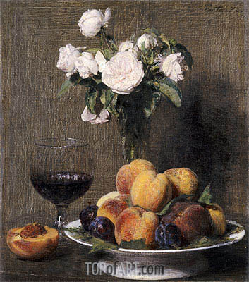 Still Life with Roses, Fruit and a Glass of Wine, 1872 | Fantin-Latour| Painting Reproduction