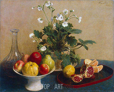 Flowers, Dish with Fruit and Carafe, 1865 | Fantin-Latour | Gemälde Reproduktion