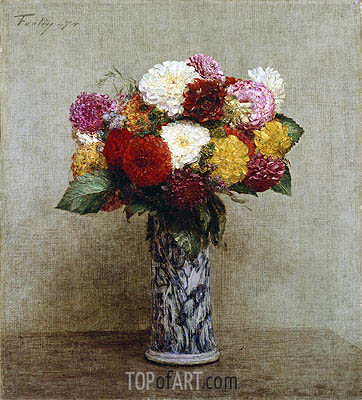Fantin-Latour | Dahlias in a Chinese Vase, 1874