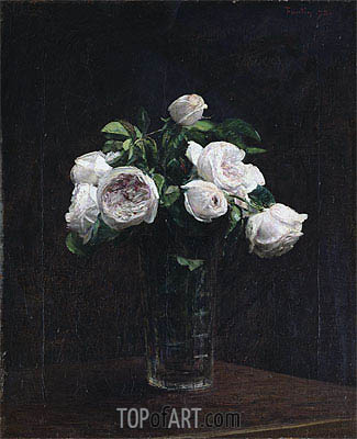 Fantin-Latour | Blush Roses in a Glass, 1872