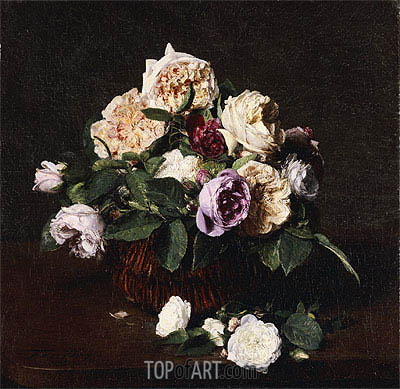 Vase of Flowers, 1876 | Fantin-Latour| Painting Reproduction