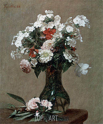 Still Life with Zinnias and Phlox, 1888 | Fantin-Latour| Painting Reproduction