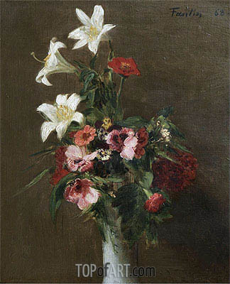 Flowers in a Porcelain Vase, 1863 | Fantin-Latour | Painting Reproduction