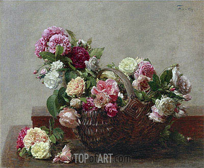 Basket of Roses, 1880 | Fantin-Latour| Painting Reproduction