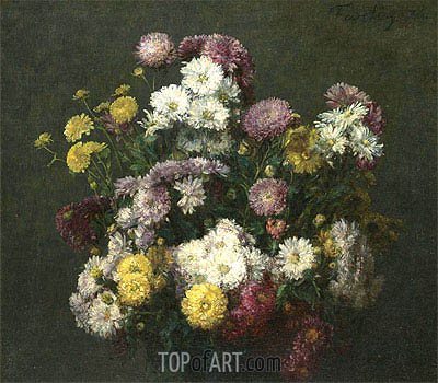 Flowers, Chrysanthemums, 1876 | Fantin-Latour | Gemälde Reproduktion