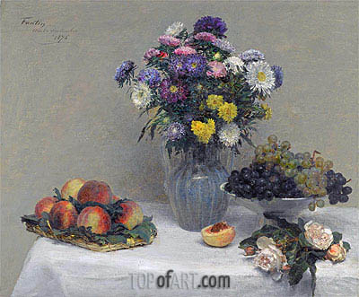 Flowers and Fruits, 1876 | Fantin-Latour| Painting Reproduction