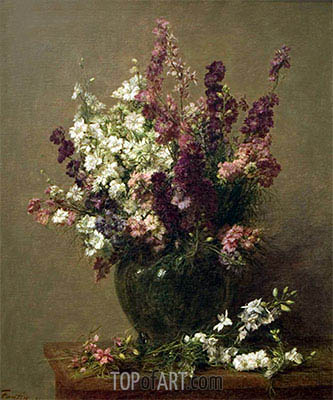 Still Life with Imperial Delphiniums, 1891 | Fantin-Latour | Painting Reproduction